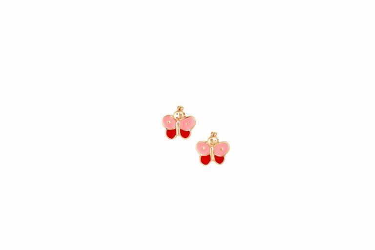 E14 003 Σκουλαρίκι Πεταλούδα Παιδικό Χρυσό