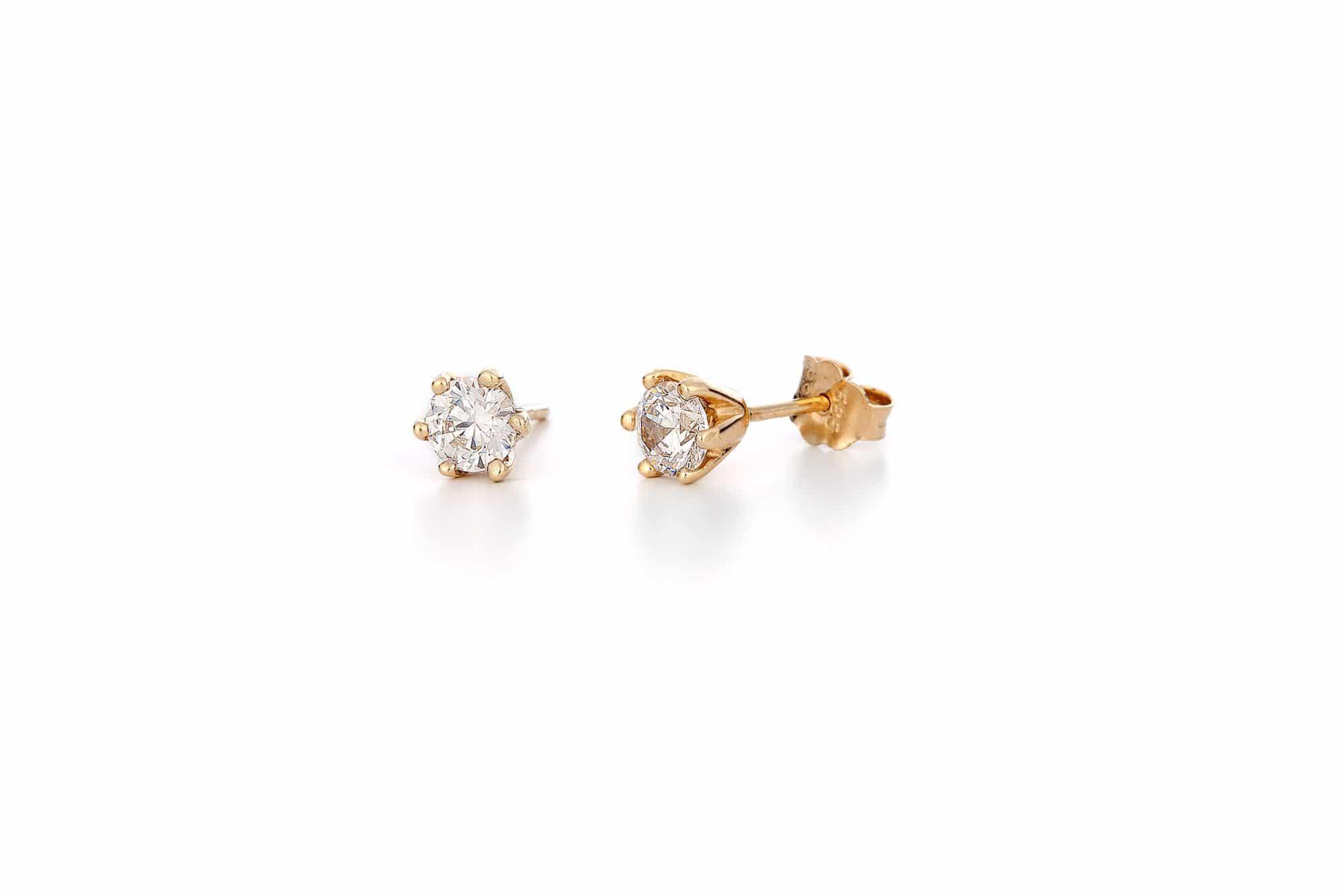 Σκουλαρίκια Μονόπετρα Χρυσά Με Ζιργκόν – Jewelor d4a634c778c