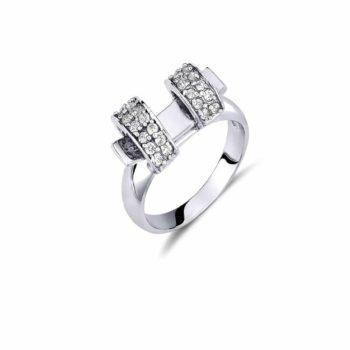 Δαχτυλίδι Λευκόχρυσο Με Ζιργκόν 14K