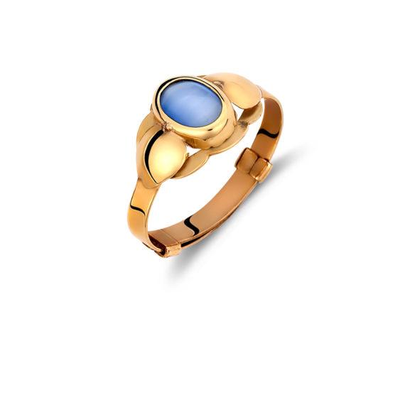 002018 Δαχτυλίδι Παιδικό Οβάλ Χρυσό Με Μπλε Πέτρα Jewelor