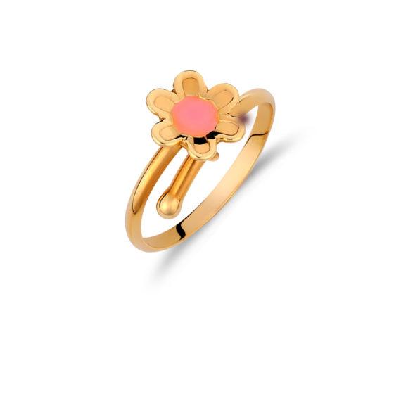 002019 Δαχτυλίδι Παιδικό Λουλούδι Χρυσό Jewelor