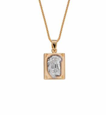 002037 Φυλαχτό Ιησούς & Κωνσταντινάτο Χρυσός & Λευκόχρυσος Διπλής Όψης