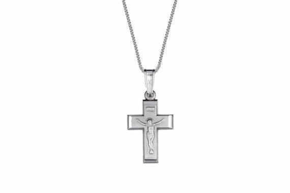 002054 Σταυρός Εσταυρωμένος Λευκόχρυσος Ματ