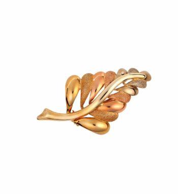 002197 Καρφίτσα Φύλλο Κίτρινο & Ροζ Χρυσό