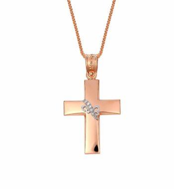 002296 Σταυρός Πεταλούδα Ροζ Χρυσός & Λευκόχρυσος Με Πέτρες Ζιργκόν