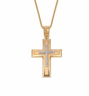 002298 Σταυρός Χρυσος Με Ζιργκόν Πομπέ