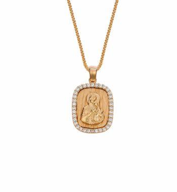 002347 Φυλαχτό Παναγία Μαρτελέ Χρυσό Με Ζιργκόν ΔΟ