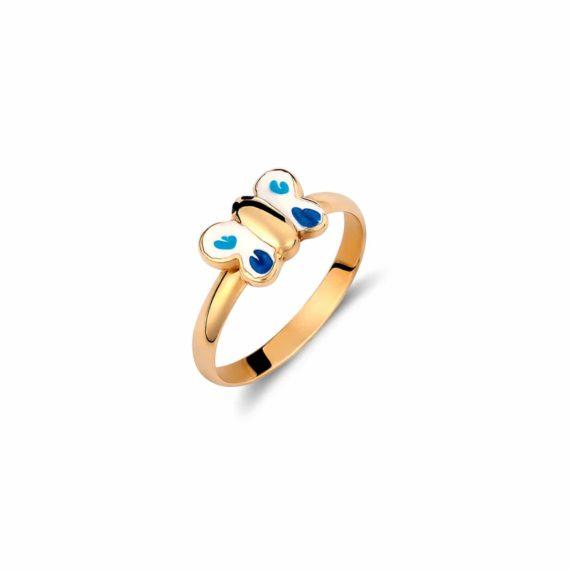 Δαχτυλίδι Πεταλούδα Παιδικό Χρυσό Με Σμάλτο Για Κορίτσι 002013