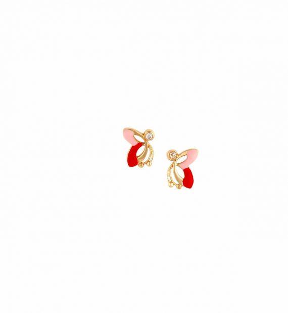 E14 002 Σκουλαρίκι Πεταλούδα Παιδικό Χρυσό Με Ζιργκόν