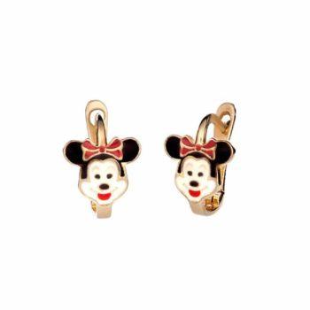 Σκουλαρίκι Παιδικό Χρυσό Mini Mouse Για Κορίτσι