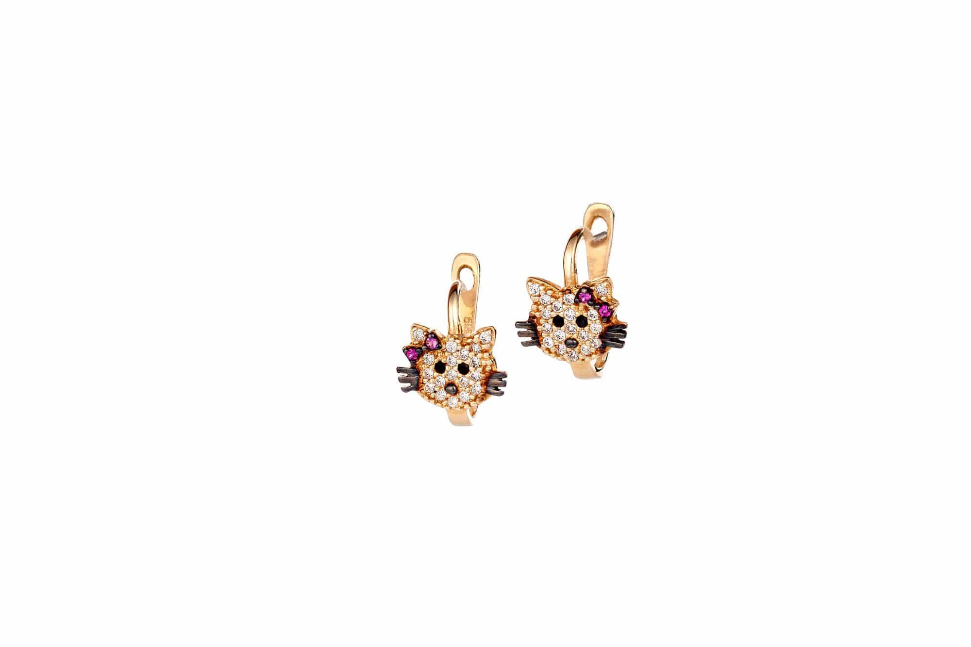 Σκουλαρίκι Παιδικό Χρυσό Με Ζιργκόν Γατούλα Για Κορίτσι – Jewelor 8d8cfb2118a