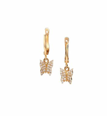 E14 023 Σκουλαρίκι Χρυσό Με Ζιργκόν Πεταλούδα