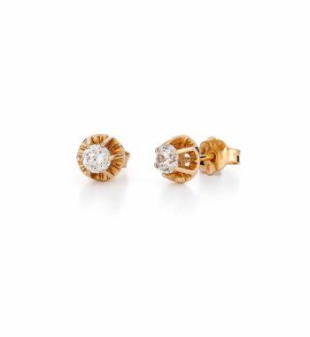 E14 040 Σκουλαρίκι Μονόπετρο Χρυσό Με Ζιργκόν