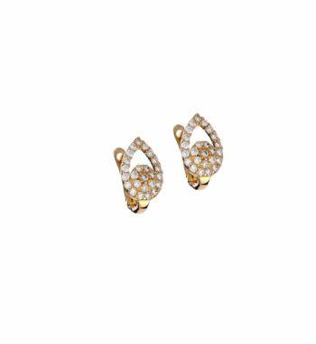 E14 043 Σκουλαρίκι Χρυσό Με Ζιργκόν Φυλλαράκι