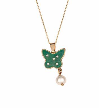 K04 005 Κρεμαστό Πεταλούδα Χρυσός Με Σμάλτο & Μαργαριτάρι