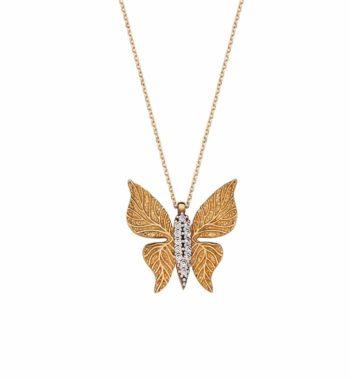 K07 001 Κρεμαστό Πεταλούδα Χρυσός Με Ζιργκόν Ανάγλυφο