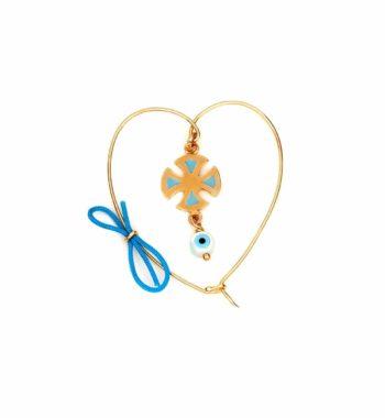 P05 011 Παραμάνα Καρδιά Σταυρουδάκι & Ματάκι Χρυσός