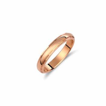 Βέρα Κλασική Πομπέ Ροζ Χρυσός 18Κ