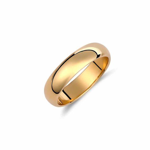 Βέρα Κλασική Πομπέ Κίτρινος Χρυσός