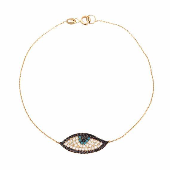 Βραχιόλι Μάτι Χρυσό Πολύχρωμα Ζιργκόν 2