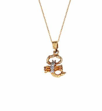 Z03 008 Ζώδιο Χρυσός & Λευκόχρυσος Με Ζιργκόν Σύμβολο