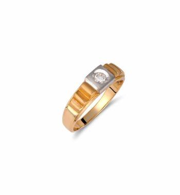 002105 Δαχτυλίδι Χρυσό & Λευκόχρυσο Με Ζιργκόν