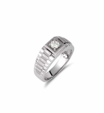 002117 Δαχτυλίδι Κλασικό Λευκόχρυσο Με Ζιργκόν