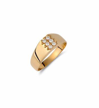 002217 Δαχτυλίδι Χρυσό Με Ζιργκόν Πομπέ