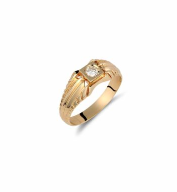 002218 Δαχτυλίδι Σκαλιστό Χρυσό Με Ζιργκόν