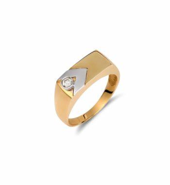 002219 Δαχτυλίδι Μοντέρνο Χρυσό & Λευκόχρυσο Με Ζιργκόν