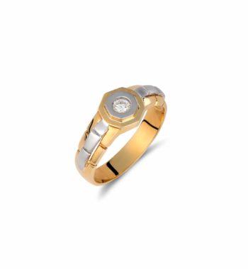 002220 Δαχτυλίδι Πολύγωνο Χρυσό & Λευκόχρυσο Με Ζιργκόν