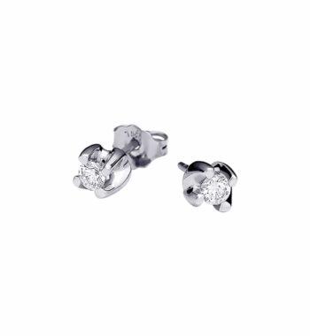 002233 Σκουλαρίκι Καρφωτό Λευκόχρυσο Με Διαμάντι
