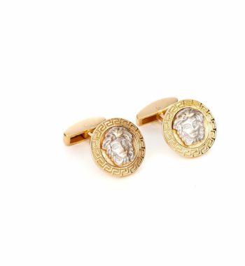 002372 Μανικετόκουμπο Χρυσό & Λευκόχρυσο Μαίανδρος