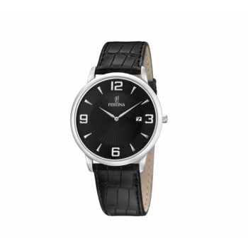 Festina Black Leather Strap Men's Watch