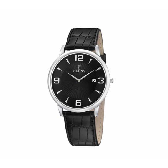 F6806 2 Festina Black Leather Strap