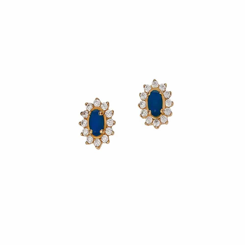 Σκουλαρίκια Ροζέτα Χρυσά Με Μπλε Και Λευκά Ζιργκόν – Jewelor f5f9fad686a
