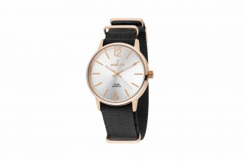8 5573 0 10 Nowley Rose Gold Black Fabric Strap