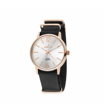 Nowley Rose Gold Black Fabric Strap Men's Watch – 8-5573-0-10