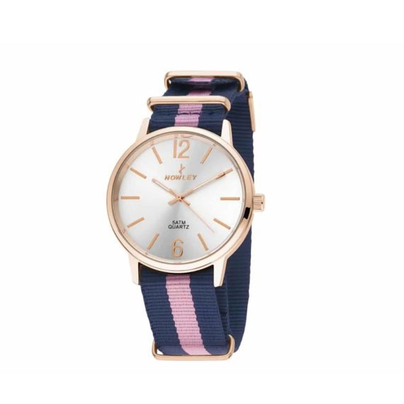 8 5573 0 13 Nowley Rose Gold Blue Fabric Strap