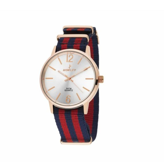8 5573 0 6 Nowley Rose Gold Blue Fabric Strap