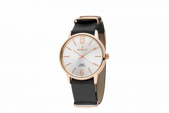 8 5573 0 A1 Nowley Rose Gold Black Leather Strap