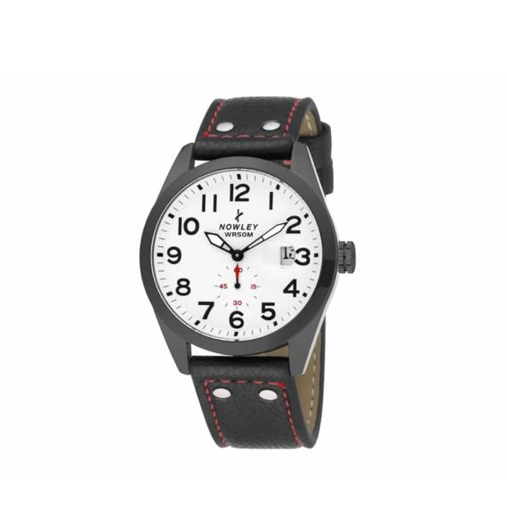 8 5637 0 1 Nowley Black Leather Strap White Dial