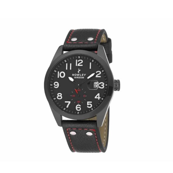 8 5637 0 2 Nowley Black Leather Strap Black Dial