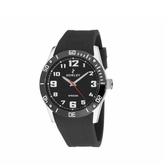 8 5642 0 1 Nowley Black Rubber Strap And Black Dial