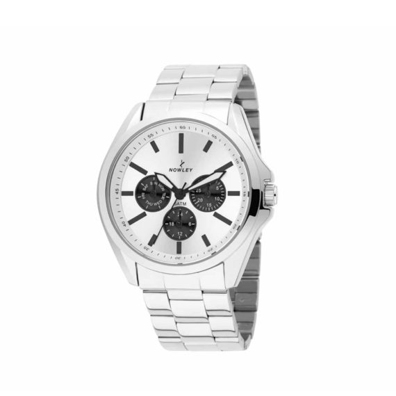 8 5687 0 0 Nowley Multi Function Stainless Steel Bracelet White Dial