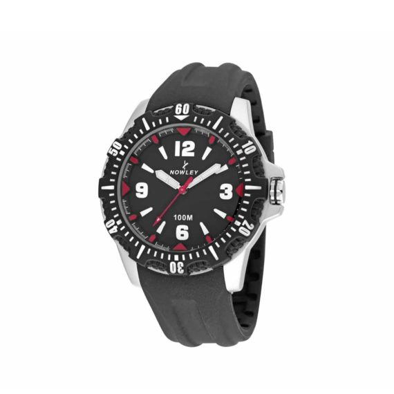 8 6191 0 2 Nowley Black And Red Rubber Strap