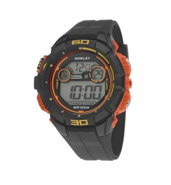 8 6234 0 2 Nowley Digital Black And Orange Rubber Strap