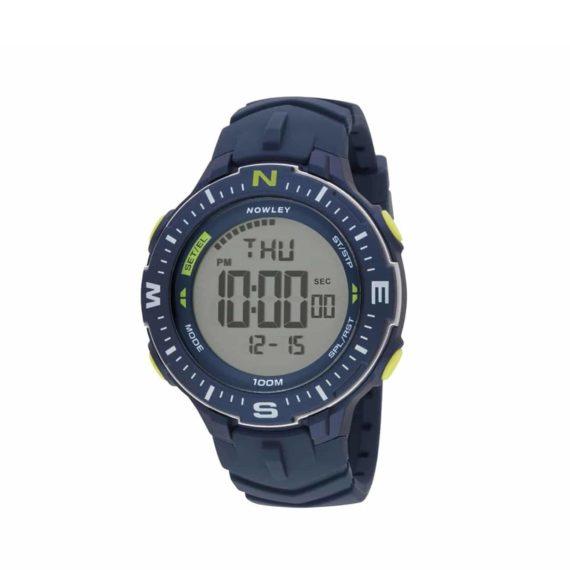 8 6238 0 2 Nowley Digital Blue Rubber Strap Compass
