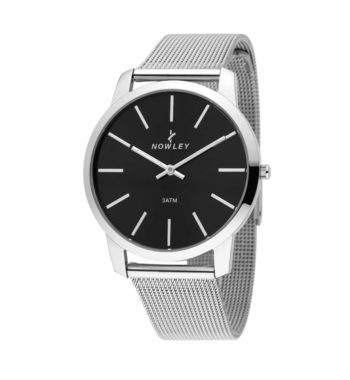 8 7010 0 3 Nowley Silver And Black Stainless Steel Bracelet