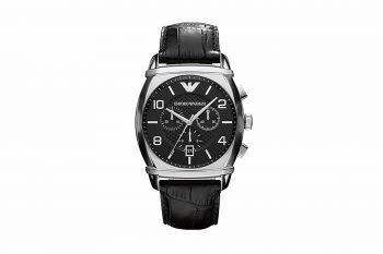 AR 0347 Emporio Armani Classic Black Leather Men's Watch